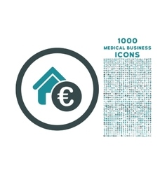 Euro Home Rent Rounded Icon with 1000 Bonus Icons vector image