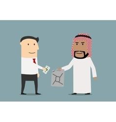 European and arabian businessmen making business vector image