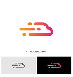 fast cloud logo design concept tech cloud logo vector image