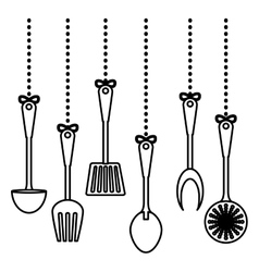 figure kitchen utensils icon image vector image