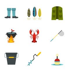 fishing elements icons set flat style vector image