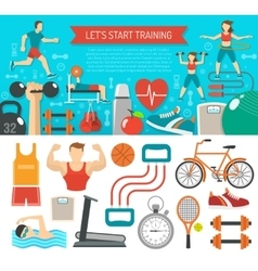 Fitness Banner Horizontal vector image