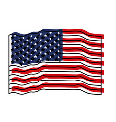 flag united states of america waving colorful vector image