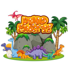 Font design for word dino party with many vector