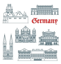 German architectural landmarks icon in thin lines vector