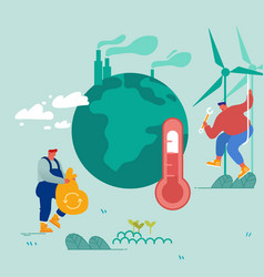 Global warming concept man collect garbage vector
