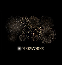 Golden firework show isolated on black background vector