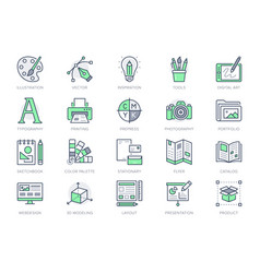 Graphic design line icons vector