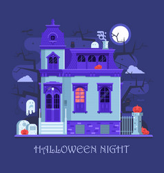 Halloween ghost house card vector