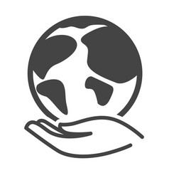 Hand and planet isolated icon environment and vector