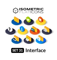 Isometric flat icons set 31 vector