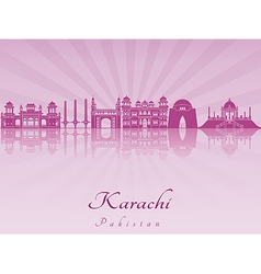Karachi skyline in purple radiant orchid vector image