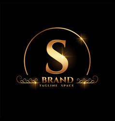 Letter s brand logo concept in golden style vector