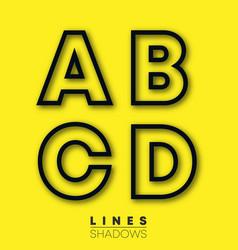 letters linear design set letter a b c d vector image