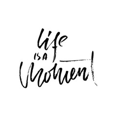 life is a moment hand drawn dry brush lettering vector image