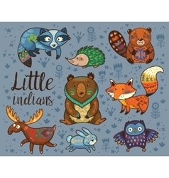Little indians Woodland tribal animals set vector