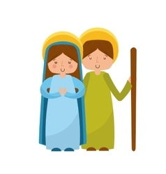 manger characters isolated icon vector image