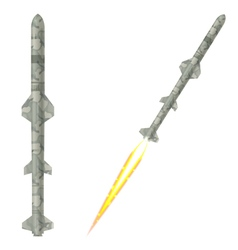 Military two-stage rockets on a white background vector image