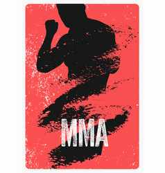 mma typographical vintage grunge style poster vector image