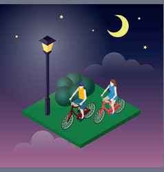 moonligt night in park female and male cyclists vector image