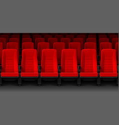 Movie theater with rows of red empty chairs vector