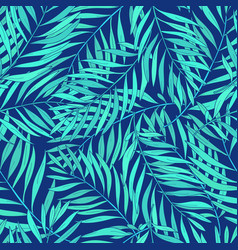Natural seamless pattern with green tropical palm vector