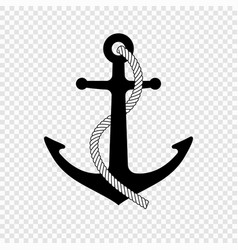 Nautical anchor with rope icon vector