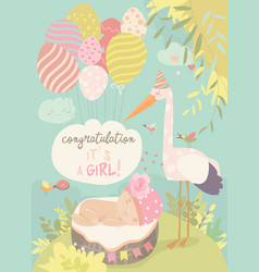 nice card with stork and baby vector image