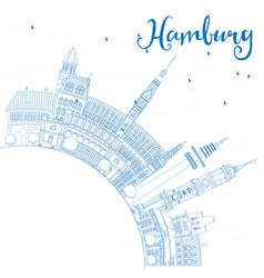 Outline hamburg skyline with blue buildings vector