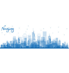 outline nanjing china skyline with blue buildings vector image