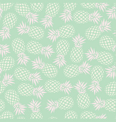 Pineapple seamless pattern on mint background vector