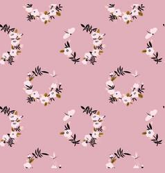 Pink flower wreath seamless pattern vector