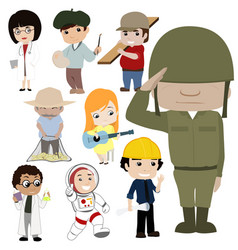 Professions and jobs cartoon collection vector