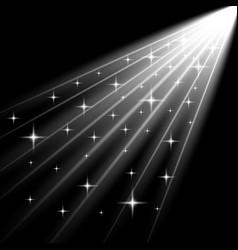 Rays of light with stars white color vector