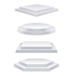realistic white podium with steps 3d round stage vector image
