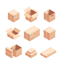 relocation carton boxes isometric 3d vector image