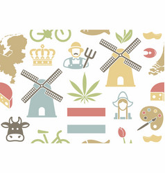 seamless pattern on the theme of the netherlands vector image