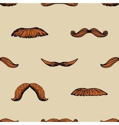 Seamless vintage pattern with mustache vector image
