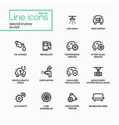 Service station - modern single line icons vector