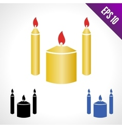 Set color icon candles vector