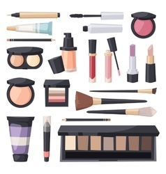 Set make up brushes and beauty fashion vector