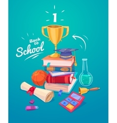 set school supplies and icons back to school vector image