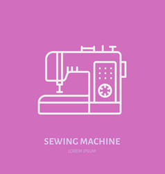 Sewing machine flat line icon logo vector