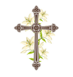 Silhouette ornate cross with lilies happy vector