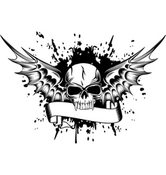 Skull with wings 2 vector