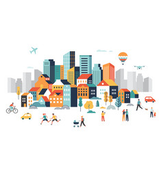 Smart city landscape city centre with many vector