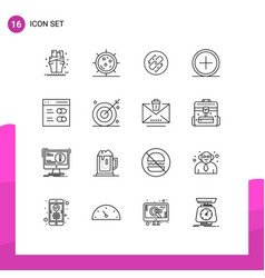 Stock icon pack 16 line signs and symbols vector