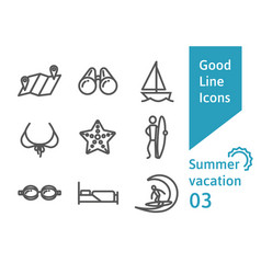 Summer vacation outline icons set 03 vector