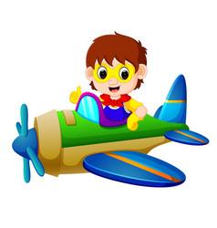 Superhero boy riding flying plane vector