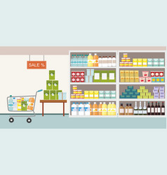 supermarket interior commodity product on shelf vector image